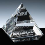 Elevated Pyramid Award, Optical Crystal PERSONALISED ref CEPA